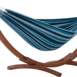 Tupla BLUE LAGOON Riippumatto ja Viveres Solid Pine Teline