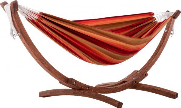 Tupla SUNBRELLA SUNSET Riippumatto ja Viveres Solid Pine Teline