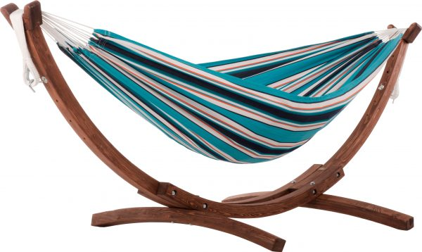 Tupla SUNBRELLA SURFSIDE Riippumatto ja Viveres Solid Pine Teline